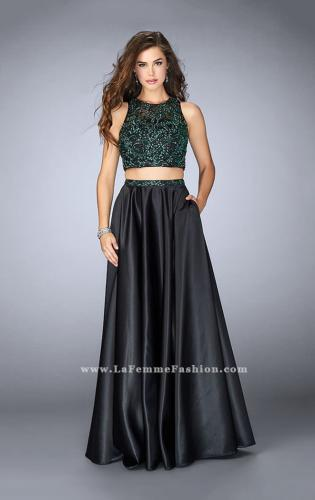 Picture of: Beaded Two Piece Dress with Full Satin Skirt., Style: 23883, Main Picture