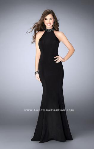 Picture of: Long Prom Dress with Beaded Collar Beaded Back, Style: 23891, Back Picture