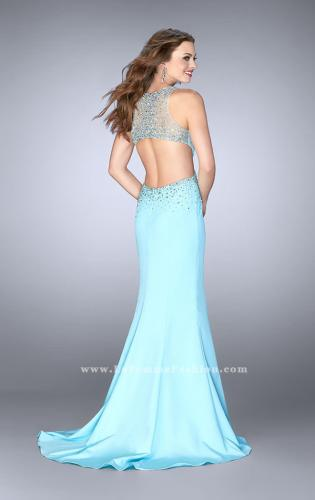 Picture of: Beaded Jersey Dress with Sheer Sweetheart Neckline, Style: 23896, Back Picture
