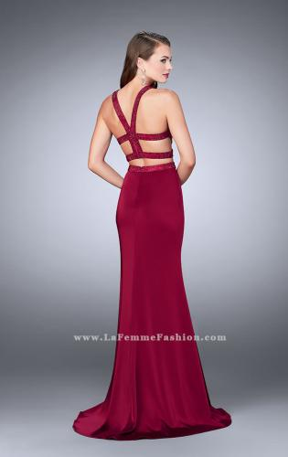 Picture of: Long Two Piece dress with Beading and Side Slit, Style: 23905, Back Picture