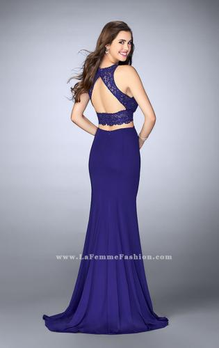 Picture of: Two Piece Beaded Lace Prom Dress with Jersey Skirt, Style: 23908, Back Picture
