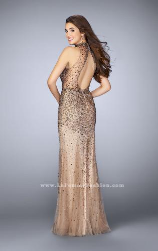 Picture of: Long Beaded Dress with Tulle Skirt and Open Back, Style: 23911, Back Picture