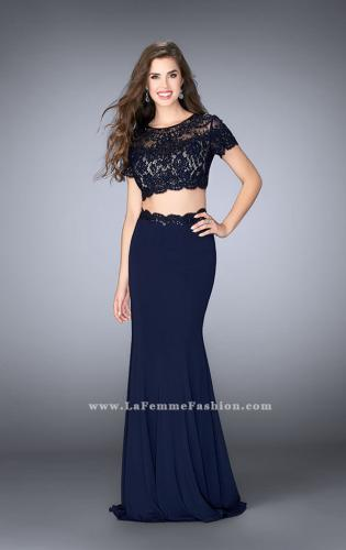 Picture of: Two Piece Beaded Lace Prom Gown with Cap Sleeves, Style: 23912, Main Picture