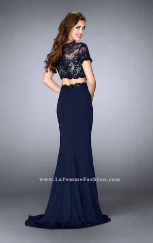 Picture of: Two Piece Beaded Lace Prom Gown with Cap Sleeves, Style: 23912, Back Picture