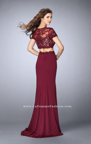 Picture of: Two Piece Beaded Lace Prom Gown with Cap Sleeves, Style: 23912, Detail Picture 2