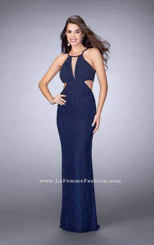 Picture of: Beaded Prom Dress with Side Cut Outs and Strappy Back, Style: 23941, Detail Picture 1
