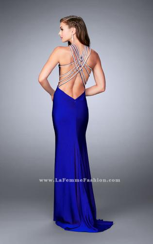 Picture of: High Neck Jersey Dress With Beading and Strappy Back, Style: 23982, Back Picture