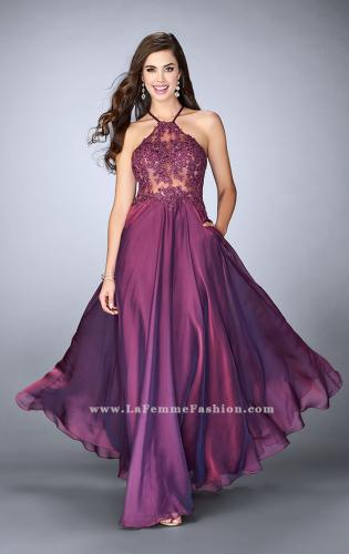 Picture of: A-line Chiffon Dress with Sheer High Neck Lace Top, Style: 23991, Main Picture