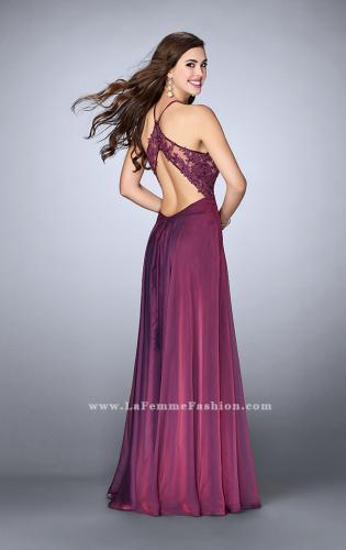 Picture of: A-line Chiffon Dress with Sheer High Neck Lace Top, Style: 23991, Back Picture