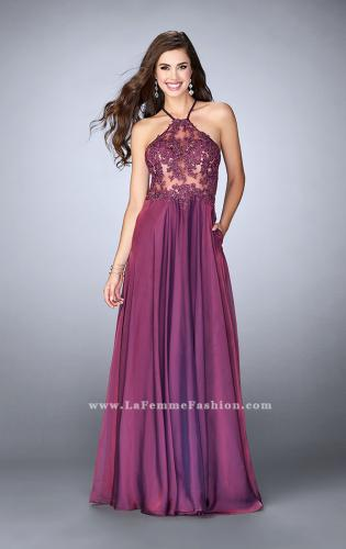 Picture of: A-line Chiffon Dress with Sheer High Neck Lace Top, Style: 23991, Detail Picture 1