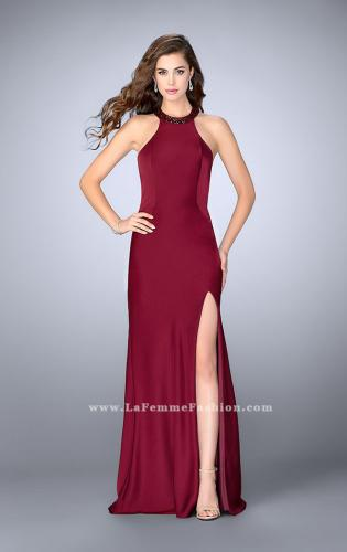 Picture of: High Beaded Neck Prom Dress with Strappy Back, Style: 23993, Back Picture