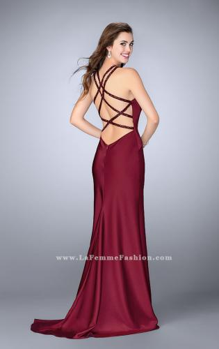 Picture of: High Beaded Neck Prom Dress with Strappy Back, Style: 23993, Detail Picture 1