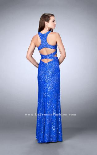 Picture of: Long Lace Prom Dress with Cut Outs and Racer Back, Style: 23999, Back Picture