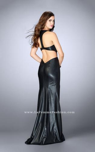 Picture of: Vegan Leather Dress With V Neckline and Racer Back, Style: 24002, Back Picture