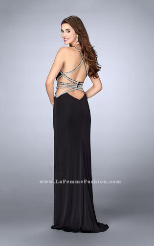 Picture of: Beaded Jersey Prom Dress with a Deep V Keyhole, Style: 24003, Back Picture