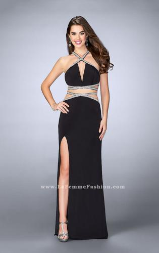 Picture of: Beaded Jersey Prom Dress with a Deep V Keyhole, Style: 24003, Detail Picture 1