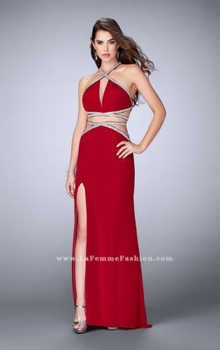 Picture of: Beaded Jersey Prom Dress with a Deep V Keyhole, Style: 24003, Detail Picture 2