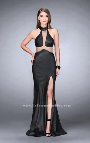 Picture of: Long Vegan Leather Prom Dress with Choker, Style: 24018, Main Picture