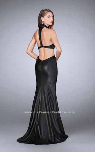 Picture of: Long Vegan Leather Prom Dress with Choker, Style: 24018, Back Picture