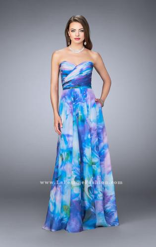 Picture of: Strapless Chiffon Prom Dress Rose Print Fabric, Style: 24021, Main Picture