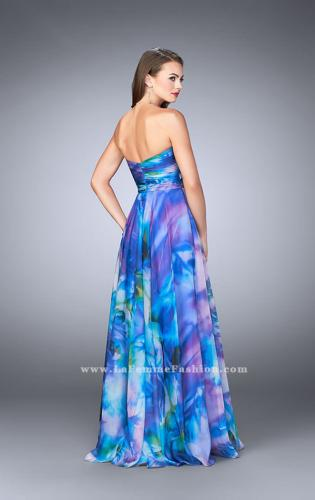 Picture of: Strapless Chiffon Prom Dress Rose Print Fabric, Style: 24021, Back Picture
