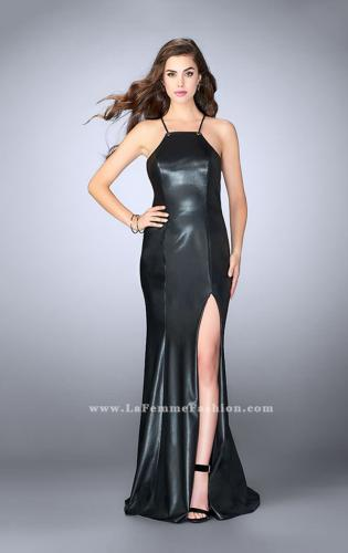 Picture of: High Neck Vegan Leather Dress with Side Slit, Style: 24022, Main Picture