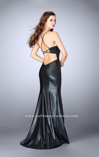 Picture of: High Neck Vegan Leather Dress with Side Slit, Style: 24022, Back Picture