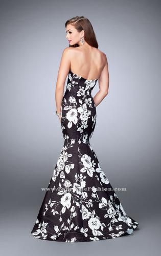Picture of: Strapless Black and White Rose Print Prom Dress, Style: 24023, Back Picture