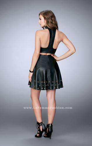Picture of: Short Vegan Leather Two Piece with Gold Grommets, Style: 24026, Back Picture