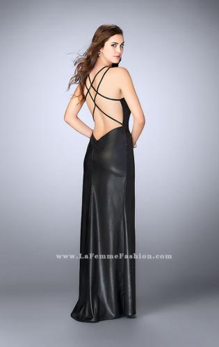 Picture of: High Neck Vegan Leather Dress with Strappy Back, Style: 24041, Back Picture
