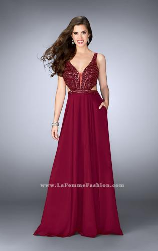 Picture of: A-line Chiffon Dress with Beaded Top and Open Back, Style: 24050, Main Picture