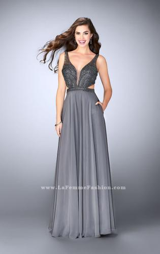 Picture of: A-line Chiffon Dress with Beaded Top and Open Back, Style: 24050, Detail Picture 1