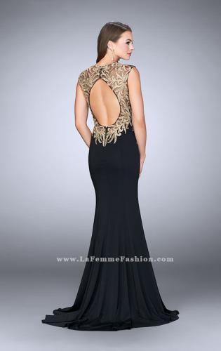 Picture of: High Neck Lace Dress with Sheer Illusion Neckline, Style: 24054, Back Picture