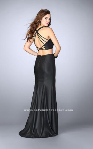 Picture of: Long Vegan Leather Two Piece Connecting Prom Dress, Style: 24080, Back Picture