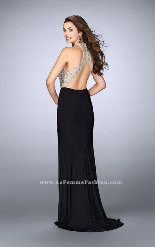 Picture of: Jersey Prom Gown with Sheer Beaded Top, Style: 24090, Back Picture