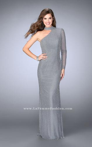 Picture of: One Shoulder Beaded Dress With Choker and Open Back, Style: 24105, Detail Picture 1