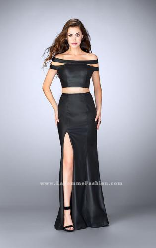 Picture of: Off The Shoulder Two Piece Vegan Leather Prom Dress, Style: 24109, Main Picture
