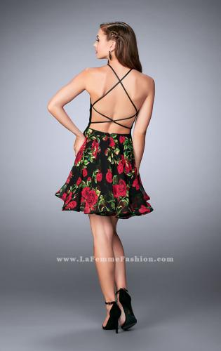 Picture of: Short Floral Dress with High Neck Vegan Leather Top, Style: 24111, Back Picture