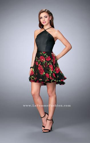 Picture of: Short Floral Dress with High Neck Vegan Leather Top, Style: 24111, Detail Picture 1