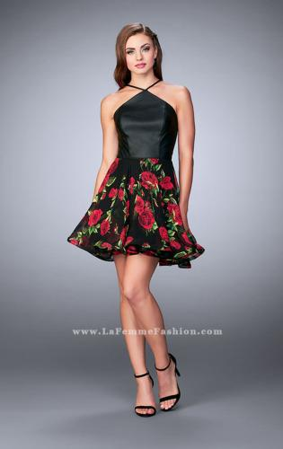 Picture of: Short Floral Dress with High Neck Vegan Leather Top, Style: 24111, Detail Picture 2