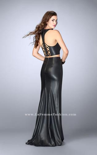 Picture of: Two Piece Vegan Leather Dress with Lace Up Detail, Style: 24112, Back Picture