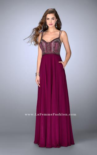 Picture of: Chiffon A-line Dress with Beaded Top and Cutout Back, Style: 24121, Main Picture