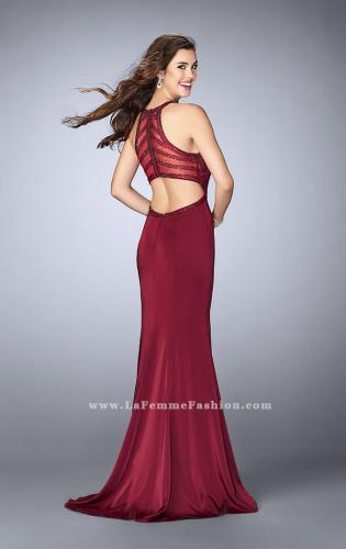 Picture of: Long Jersey Prom Dress with Beaded Neckline, Style: 24127, Detail Picture 1