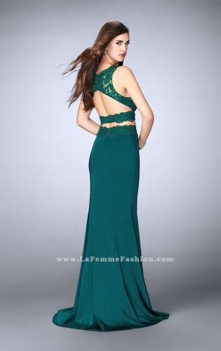 Picture of: Two Piece Jersey Gown with Lace top and Belt, Style: 24128, Back Picture