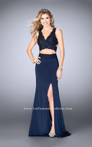 Picture of: Two Piece Jersey Gown with Lace top and Belt, Style: 24128, Detail Picture 2