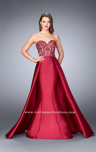 Picture of: Strapless Embroidered Prom Dress with Cape Overlay, Style: 24146, Main Picture