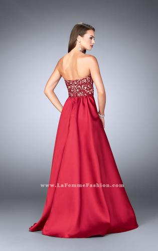 Picture of: Strapless Embroidered Prom Dress with Cape Overlay, Style: 24146, Back Picture