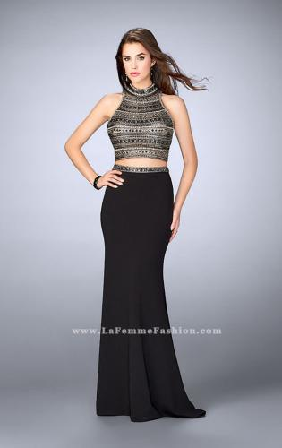 Picture of: Long Jersey Prom Dress with Beaded Top and Belt, Style: 24188, Detail Picture 1