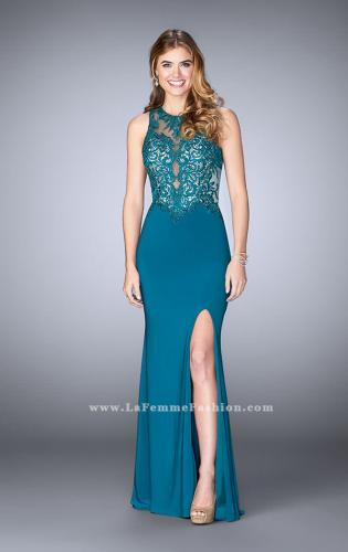 Picture of: High Neck Sheer Lace Prom Dress with Side Slit, Style: 24202, Main Picture