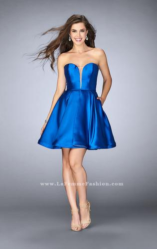 Picture of: Short Party Dress with Deep V Neckline and Pockets, Style: 24212, Detail Picture 2